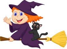 Giovane fumetto della strega che vola sopra sulla sua scopa Fotografia Stock
