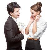 Giovane gente di affari felice che tiene soldi Fotografia Stock