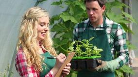 Giovane giardiniere che mostra le piante al compratore video d archivio