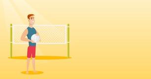 Giovane giocatore di beach volley caucasico Fotografia Stock Libera da Diritti