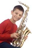 Giovane giocatore di sax Fotografie Stock Libere da Diritti