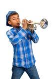 Giovane giocatore di tromba Fotografie Stock Libere da Diritti