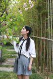 Giovane gioventù adorabile adorabile sveglia felice cinese asiatica dello studente in un giardino del parco all'aperto di estate Immagine Stock Libera da Diritti