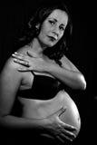 Giovane gravidanza della donna del brunette fotografie stock