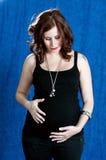 Giovane gravidanza della donna del brunette fotografia stock