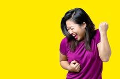 Giovane incoraggiare cinese esuberante della donna Fotografia Stock Libera da Diritti