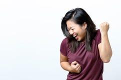 Giovane incoraggiare cinese esuberante della donna Immagini Stock