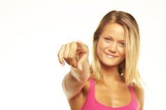 Giovane indicare femminile voi Immagini Stock Libere da Diritti