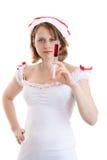 Giovane infermiera sexy con una siringa a gettare Fotografia Stock Libera da Diritti