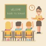 Giovane insegnante con gli studenti su una lezione illustrazione vettoriale
