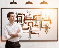 Giovane labirinto della freccia e dell'uomo d'affari, tonificato Fotografia Stock
