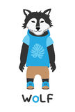 Giovane lupo in un rivestimento con un cappuccio, illustrazione di arte Carta con gli animali di modo Immagine Stock