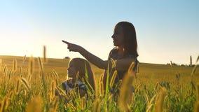 Giovane madre che si siede con il piccolo derivato biondo in mezzo al campo e la donna che indica vista di andata e bella di video d archivio