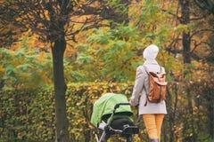 Giovane madre che spinge passeggiatore nel parco di autunno immagine stock libera da diritti