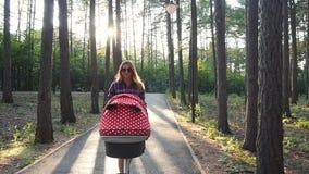 Giovane madre felice con il bambino in carrozzino che cammina nel parco video d archivio