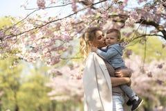 Giovane mamma della madre che tiene il suo piccolo bambino del ragazzo del figlio del bambino sotto gli alberi sboccianti di SAKU immagini stock