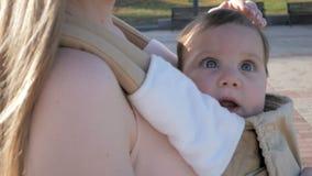Giovane mamma felice con la neonata in ergo zaino che cammina nel parco video d archivio