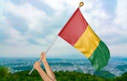 Giovane man& x27; la s passa fiero l'ondeggiamento della bandiera nazionale della Guinea nel cielo, rappresentazione della parte  Immagini Stock Libere da Diritti