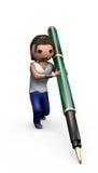 Giovane maschio 3d con la penna di Ballpoint royalty illustrazione gratis