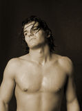 Giovane maschio con capelli lunghi Fotografia Stock