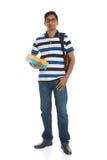 Giovane maschio indiano dell'istituto universitario con fondo bianco isolato Fotografie Stock