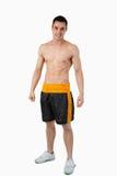 Giovane maschio sportivo negli shorts del pugile Fotografia Stock Libera da Diritti