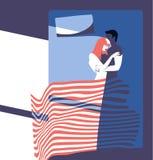 Giovane mattina delle coppie nella camera da letto immagini stock