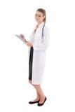 Giovane medico attraente della donna con il documento isolato su bianco Fotografia Stock