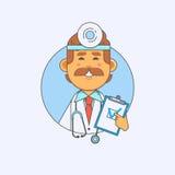 Giovane medico che tiene un'insegna in bianco nelle mani Illustrazione di vettore Immagine Stock
