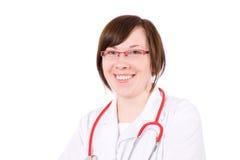 Giovane medico femminile isolato su bianco Fotografia Stock Libera da Diritti
