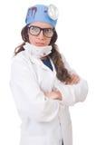 Giovane medico femminile isolato su bianco Immagini Stock Libere da Diritti