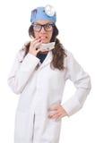 Giovane medico femminile isolato su bianco Fotografie Stock Libere da Diritti