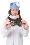 Giovane medico femminile isolato su bianco Immagine Stock Libera da Diritti