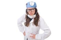 Giovane medico femminile isolato su bianco Fotografie Stock