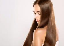 Giovane modello attraente con lungamente, capelli diritti e marroni Fotografie Stock Libere da Diritti