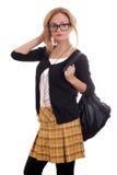Giovane modello biondo con i glases ed il sacchetto Immagine Stock