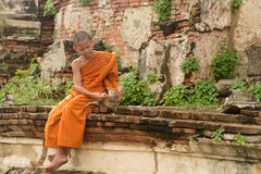 Giovane monaco buddista del principiante Fotografia Stock Libera da Diritti