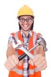 Giovane muratore divertente con il martello e Fotografie Stock