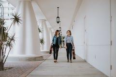 Giovane musicista femminile sveglio Friends Modeling in un corridoio all'aperto di corridoio fotografie stock