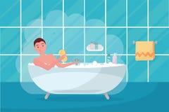 Giovane nella schiuma della bolla della vasca Interno della casa del bagno con il bagno in mattonelle Tipo che tiene pezzuola per illustrazione di stock