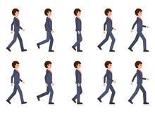 Giovane nella sequenza di camminata del vestito blu scuro Illustrazione di vettore della persona commovente del personaggio dei c illustrazione di stock