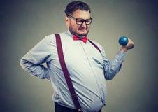 Giovane obeso che prova all'allenamento Immagine Stock Libera da Diritti