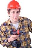 Giovane operaio di costruzione fotografie stock libere da diritti