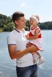 Giovane padre con la sua figlia Fotografia Stock Libera da Diritti