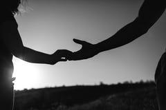 Giovane passeggiata delle coppie in natura in bianco e nero fotografia stock