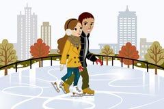 Giovane pattinaggio su ghiaccio delle coppie in città illustrazione vettoriale