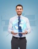 Giovane PC di With Tablet della donna di affari immagini stock