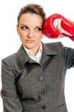 Giovane perforazione di pugilato della donna di affari Immagine Stock Libera da Diritti