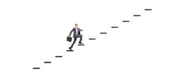 Giovane persona di affari con la cartella che cammina sui punti verso Immagine Stock