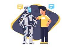 Giovane piano che parla con robot con il fumetto, robot e gente illustrazione vettoriale